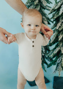 Mo Ribbed Onesie in Cream - FINAL SALE