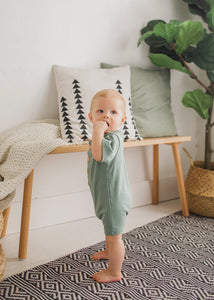 Zach Shortie Romper in Sage - FINAL SALE