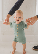 Load image into Gallery viewer, Zach Shortie Romper in Sage - FINAL SALE