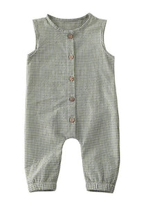 Zeke Gingham Romper in Green - FINAL SALE