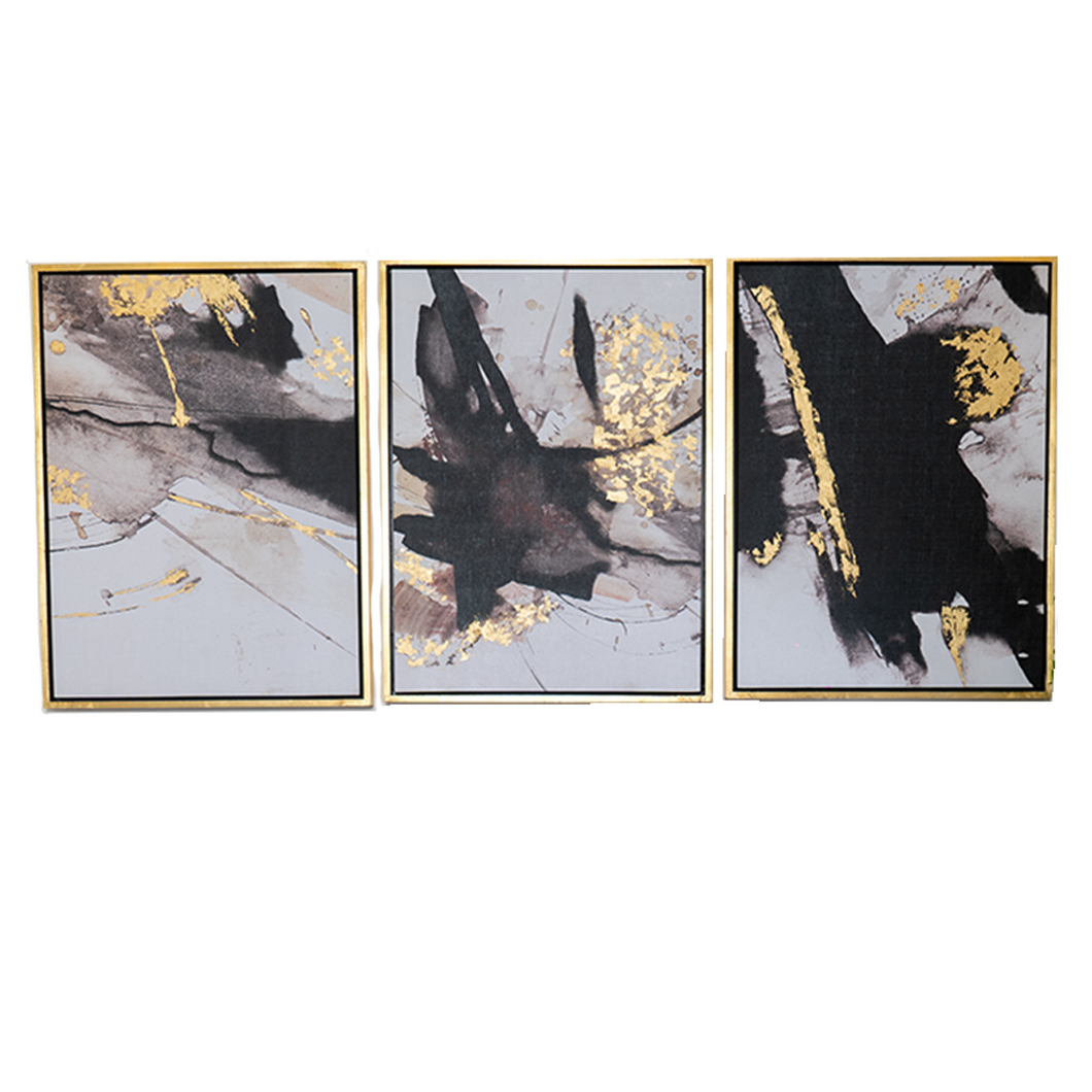 Set de 3 Cuadros Abstract Black-Gold