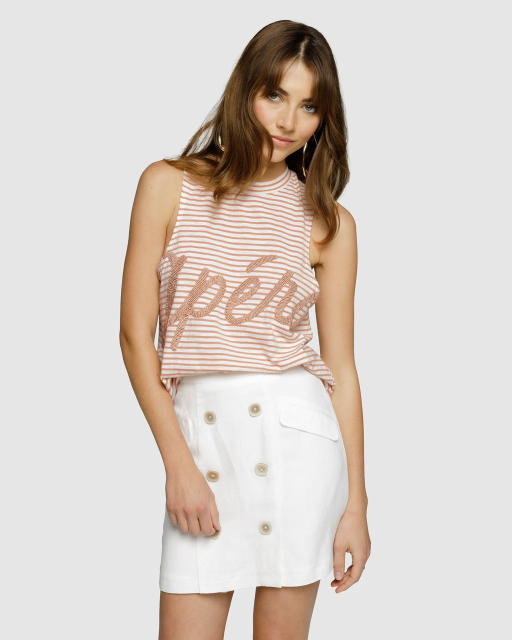 Grande Beaded Tank Top - Apero Dusty Pink/White Stripe sale