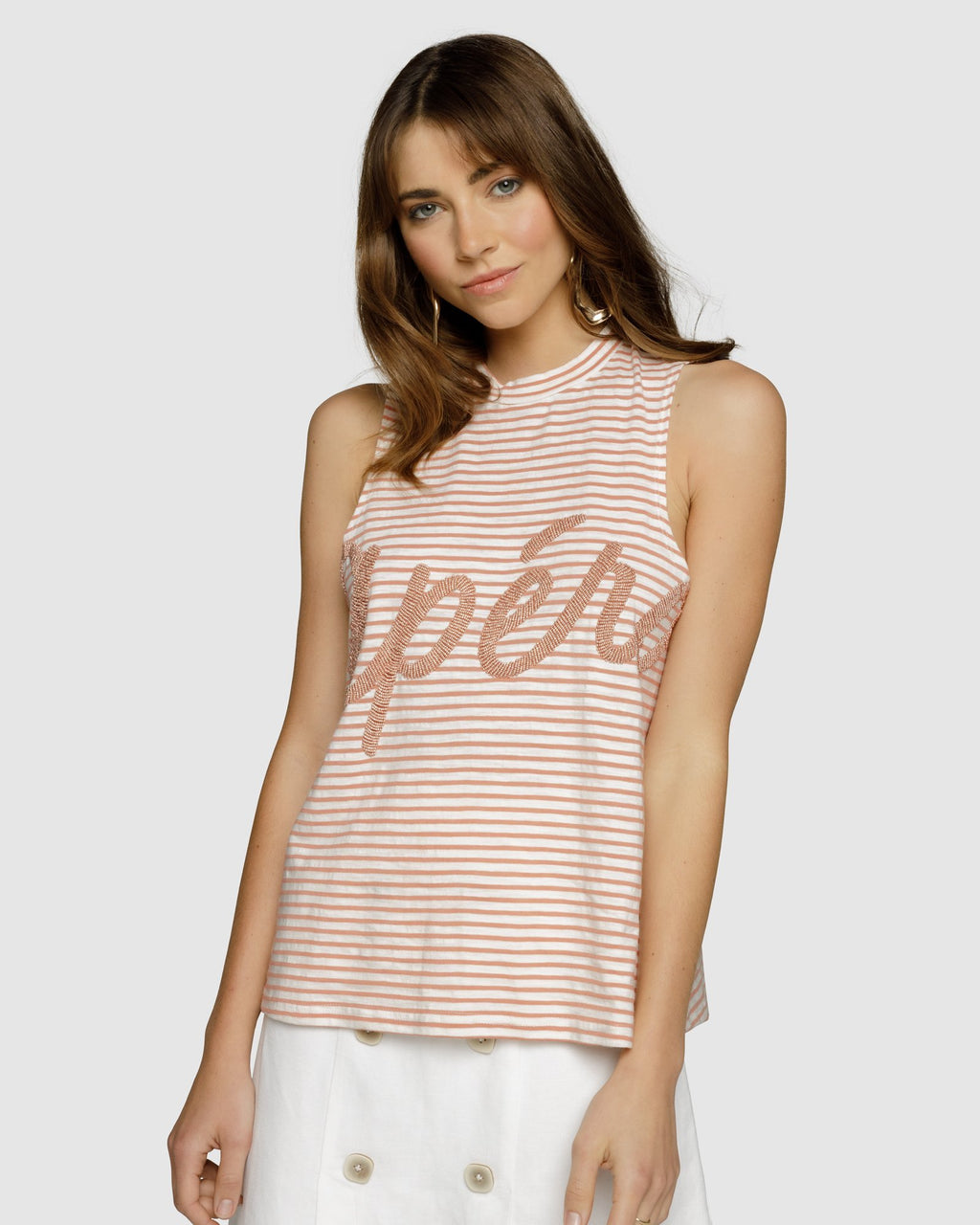 Grande Beaded Tank Top - Apero Dusty Pink/White Stripe