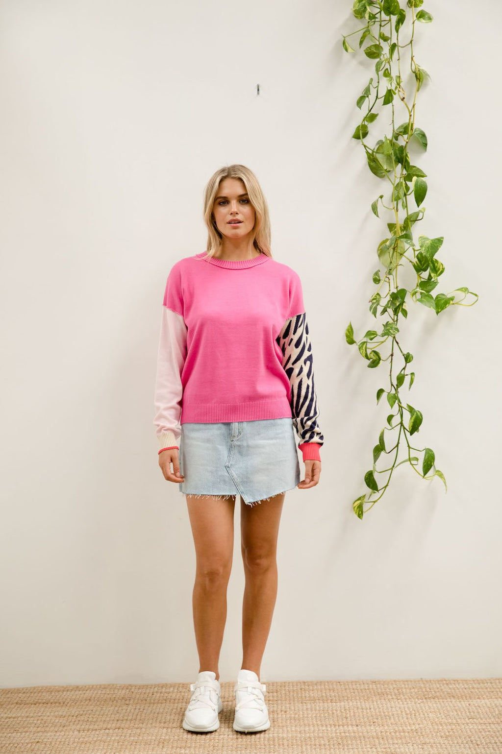 Animal Colour Block Knit