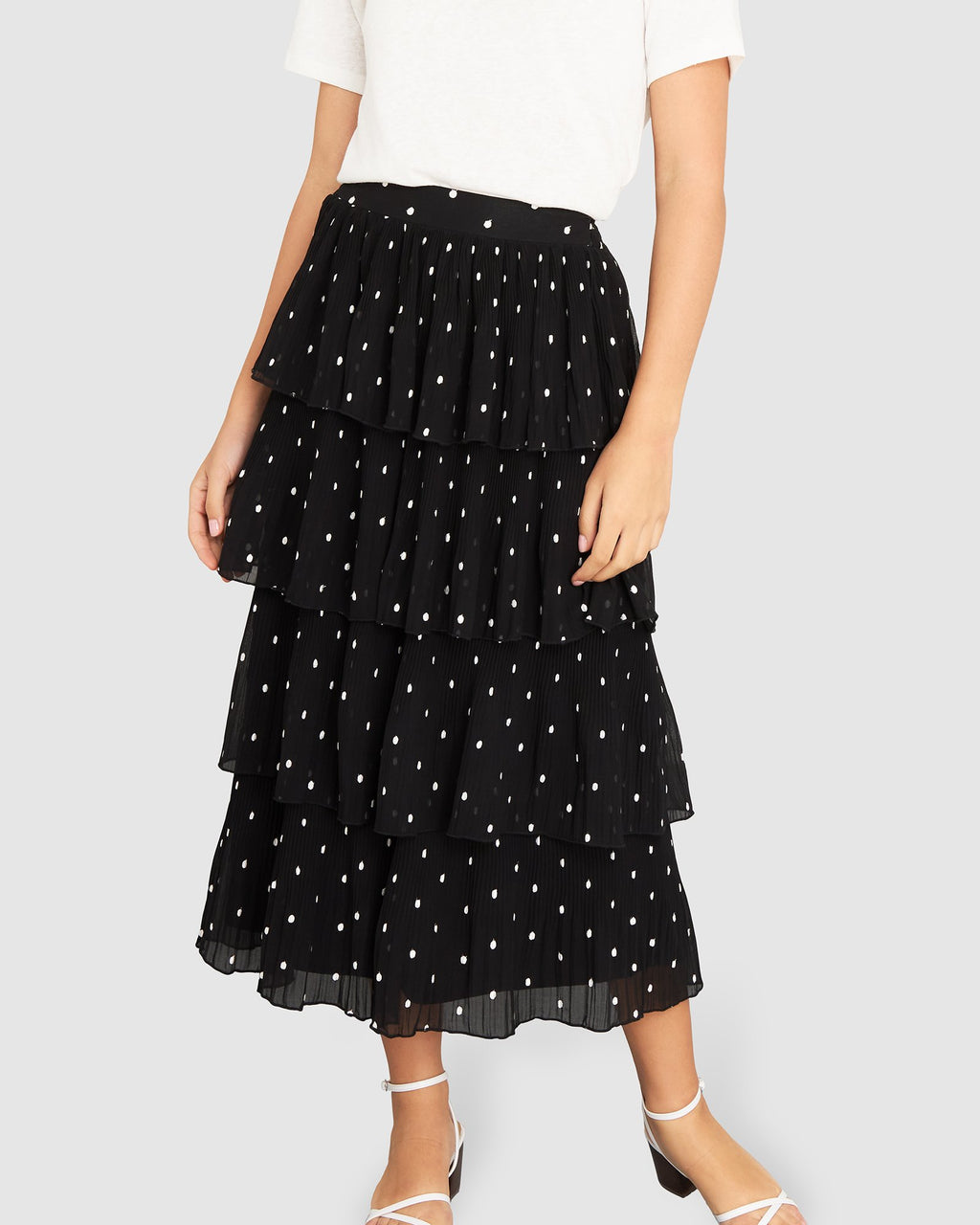 Evie Frill Midi Skirt - Black / White Spot
