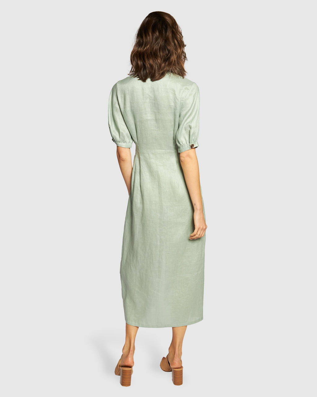 Apero Sail Away Linen Midi Dress - Sage