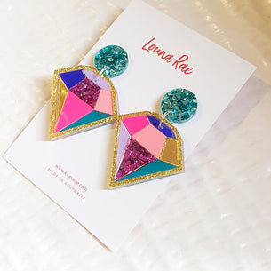 Diamonds are Forever Dangles - Turquoise/Pink/Gold