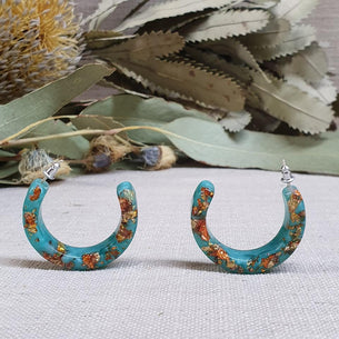 Resin Hoop Earrings - Aqua