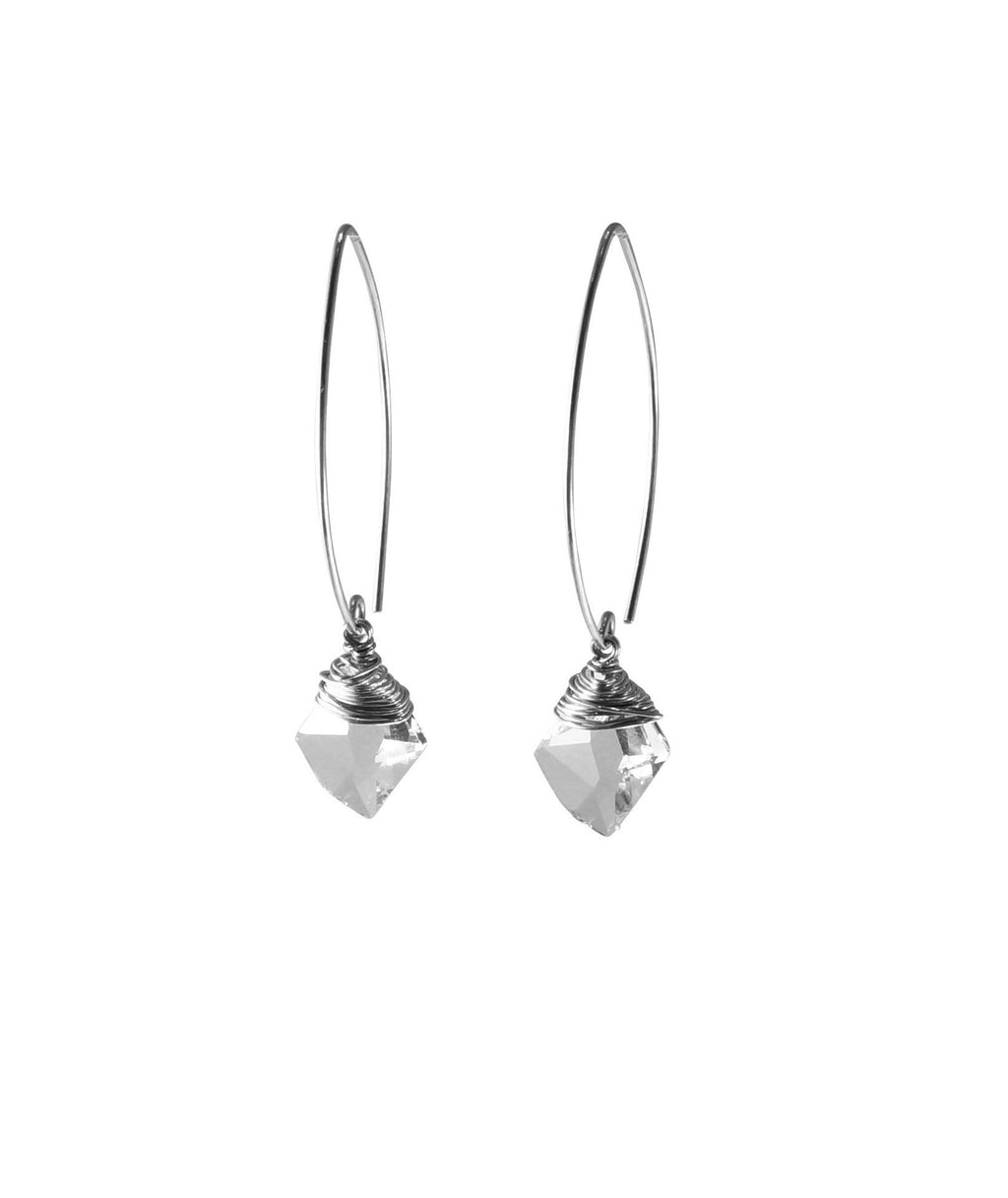 Sterling Silver Swarovski Crystal Beads Earrings