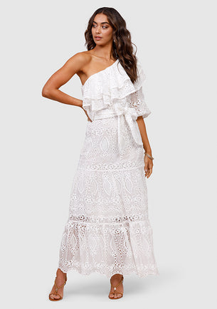 ministry of Style Splendour Embroidery One Shoulder Dress