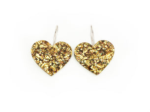 Hearts on Hoops - Gold Glitter