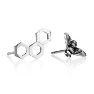 Sterling Silver Studs - Honeycomb and Bee