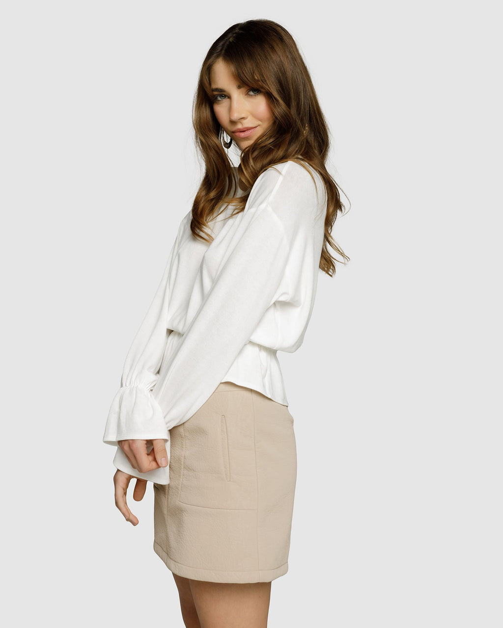 Dawn Long Sleeve Frill Top - Off White