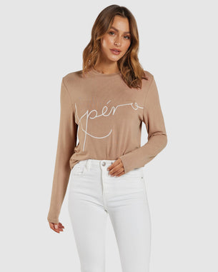 APERO BLAISE EMBROIDERED LONG SLEEVE TOP - BLUSH NUDE
