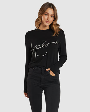 APERO BLAISE EMBROIDERED LONG SLEEVE TOP - BLACK
