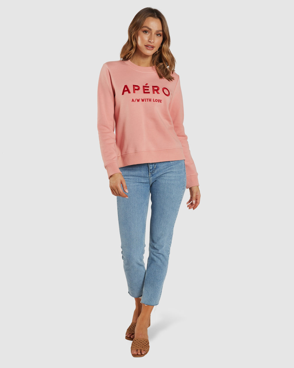 APERO A/W WITH LOVE EMBROIDERED JUMPER - PEACH KISS/RED