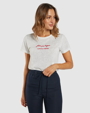 APERO JE T'AIME EMBROIDERED FEMME TEE - WHITE/RED