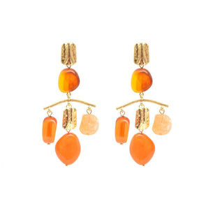 Amelie Organic Statement Earrings - Amber