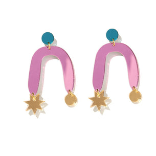 Sophie Earrings - Teal, Pink and Gold Mirror