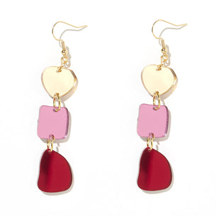 Vera Earrings - Gold, Pink and Red Mirror