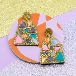 Lellie Terrazzo Gold Glitter Earrings