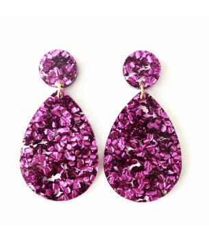 Glitter Drop Earrings - Magenta