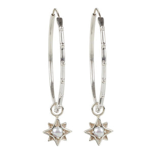 kyoti sale North Star Stud Hoops - Silver/Pearl