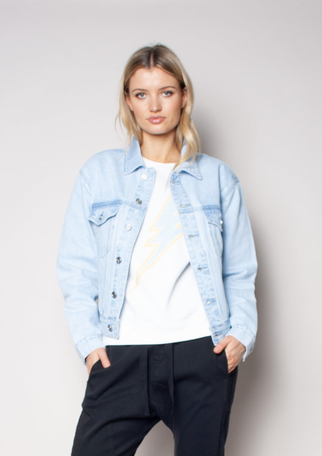 TRUCKER JACKET- BLUE SKIES with SEQUIN LIPS
