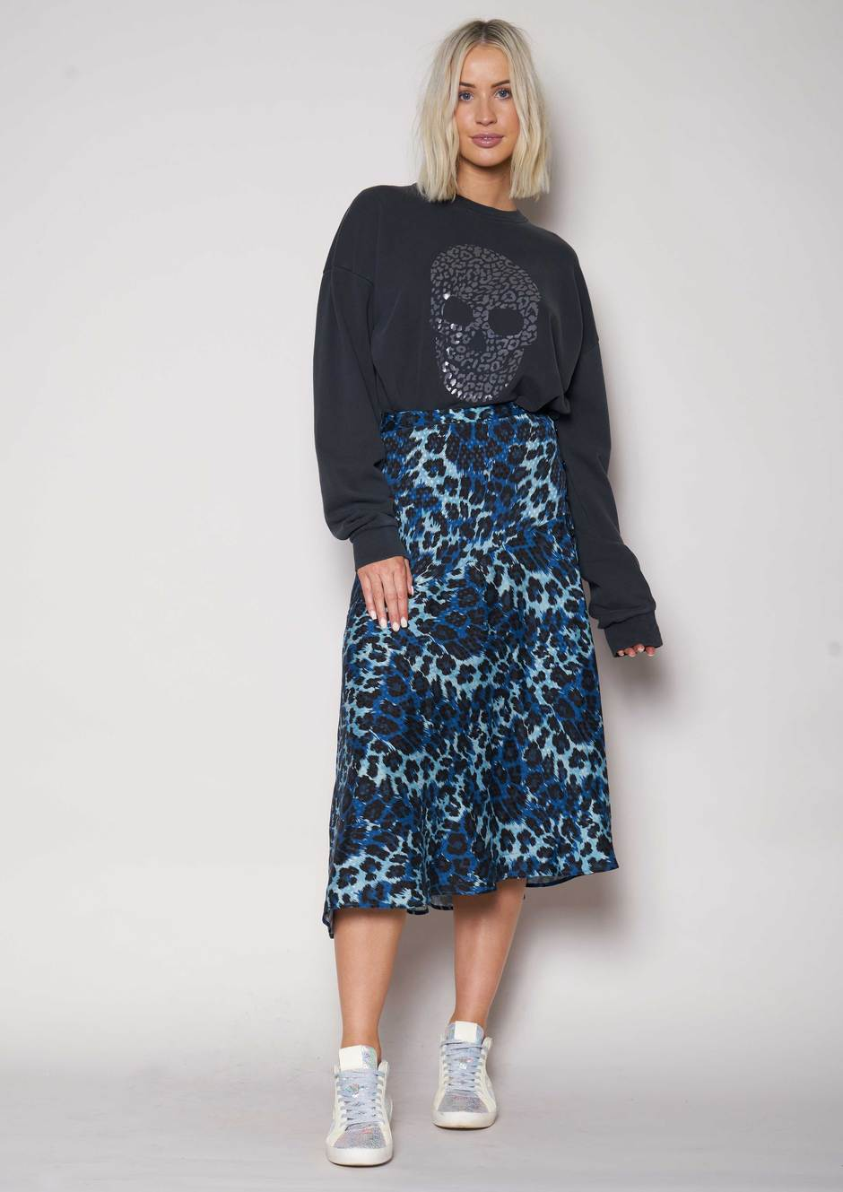 We Are The Others Drifter Skirt - Blue Leopard