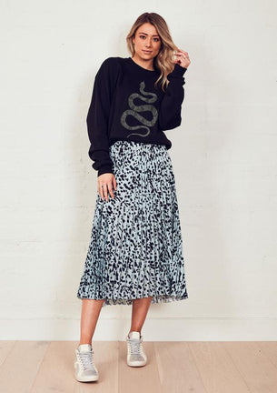 NEW IN! The Sunray Skirt - Dusty Blue Animal
