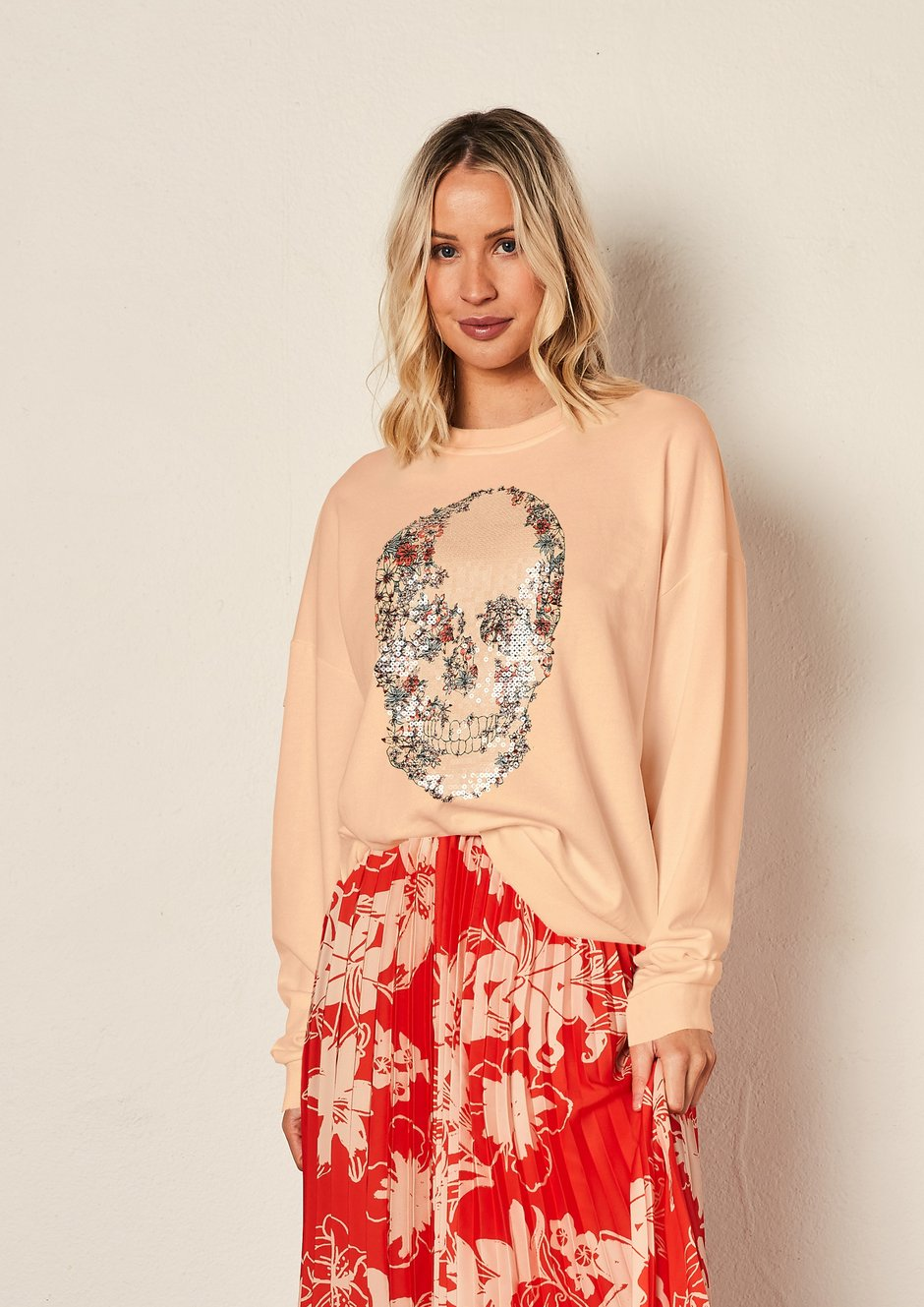 We Are The Others - Vintage Sweat in Peach with Floral Skull
