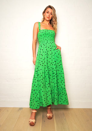 We Are The Others  Shirred Maxi Dress - Green Polka