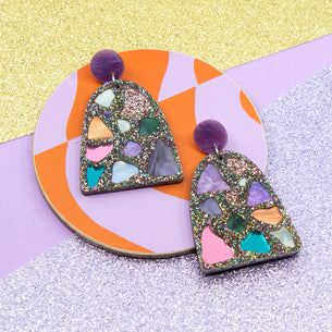 Terrazzo Rainbow Glitter with Purple Stud