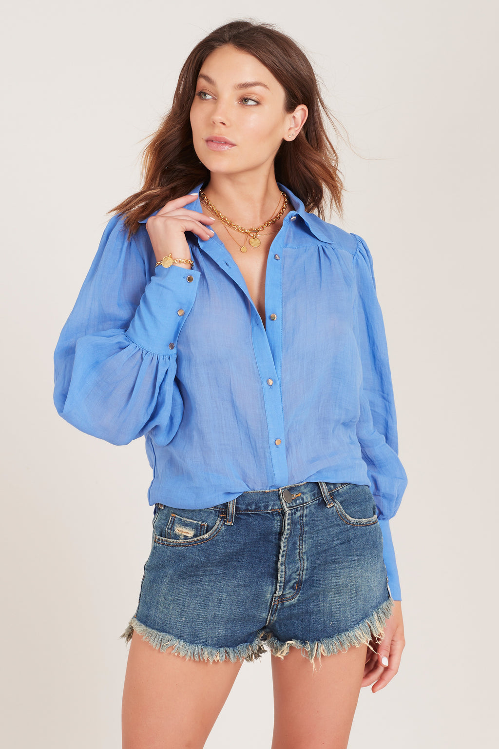 Ministry of Style Symphony Tailored Shirt - blue stone SALE