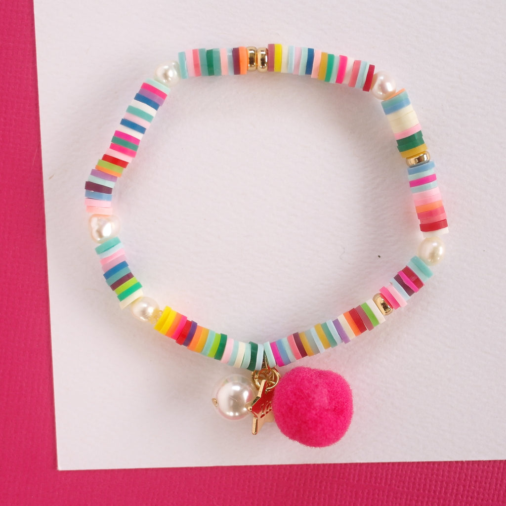 Rainbow Bracelet with Pom Pom and Pearl Lauren Hinkley