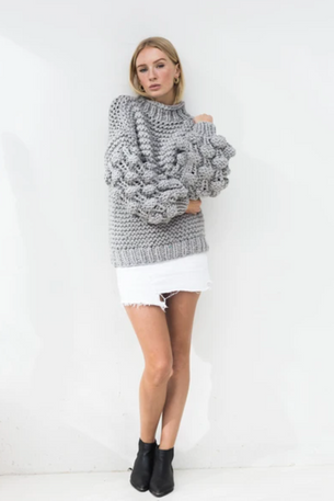 Zarena Bubble Knit Jumper - Grey
