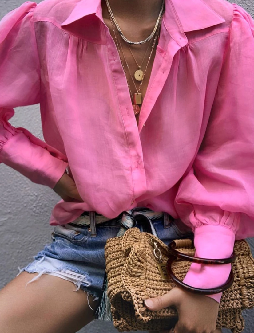 Ministry of Style Symphony Tailored Shirt - Marigold pink SALE