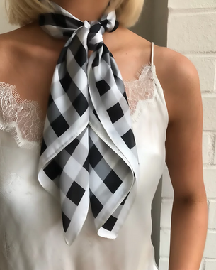 Ingrid Hair Scarf - Black & White