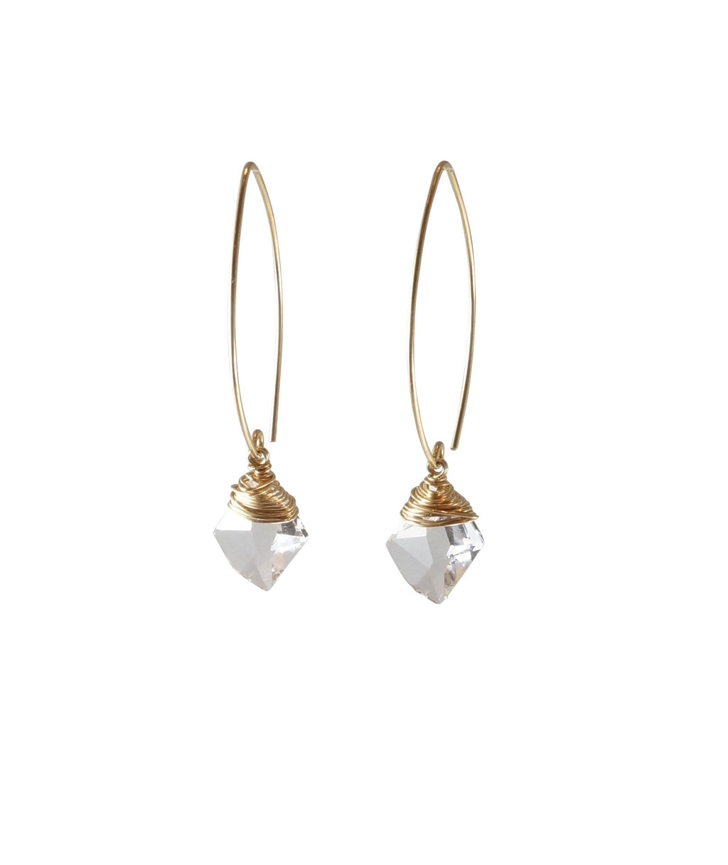 Gold Filled Swarovski Crystal Bead Earrings