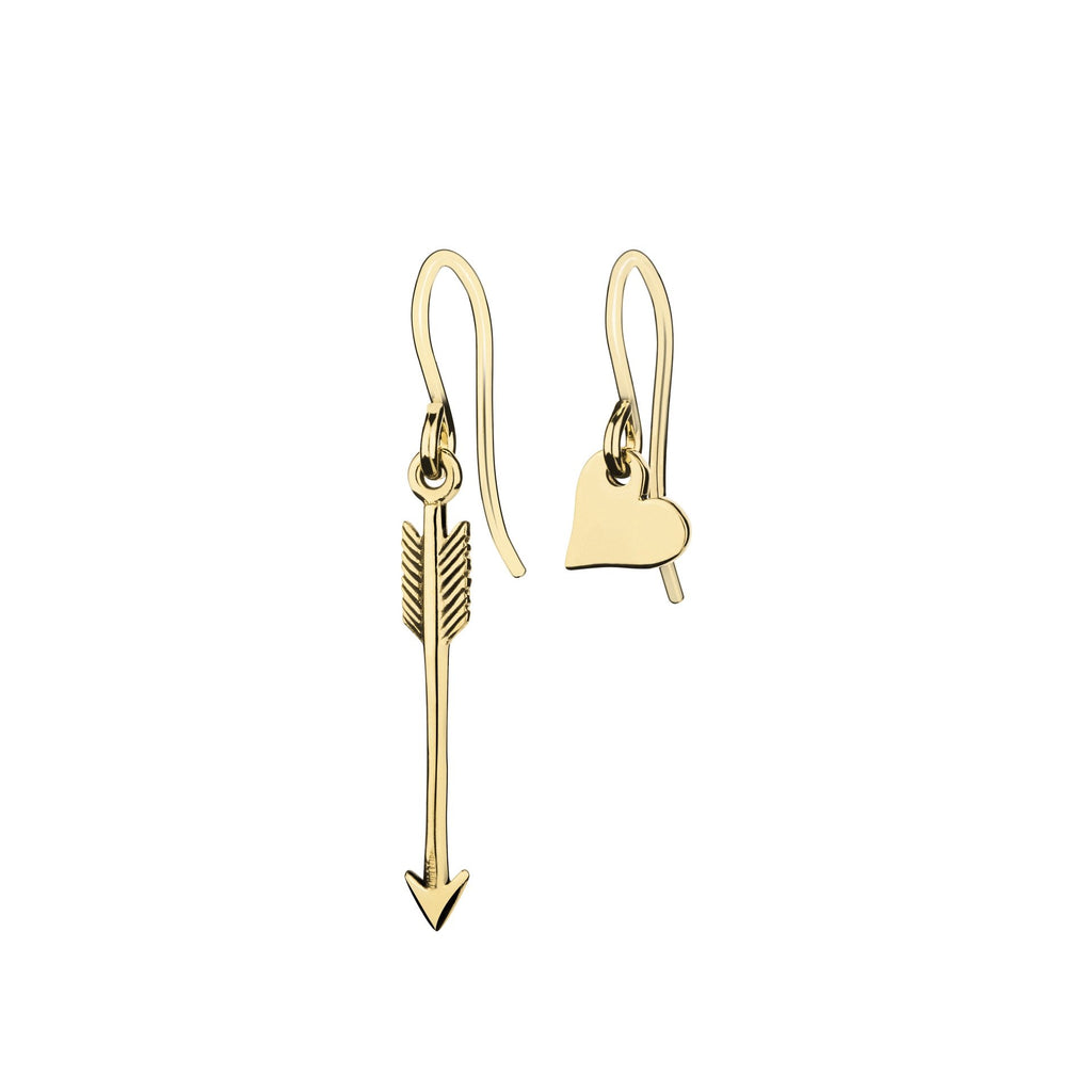 Gold Arrow and Heart Earrings