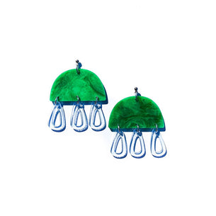 abstract jellyfish dangles | green and glass blue