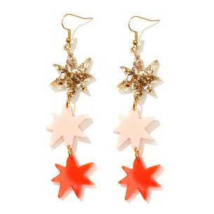 Rosie Earrings - Gold, Pink and Neon Red