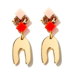 Goldie Earrings - Neon Red, Pink and Gold