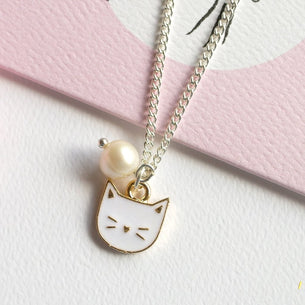 Kitty & Pearl Charm Necklace