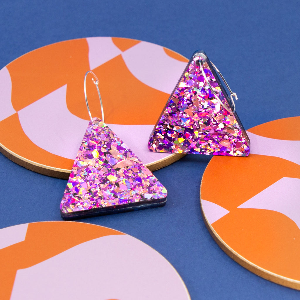 Lellie Reversible Terrazzo Triangle with Blue/Pink Glitter