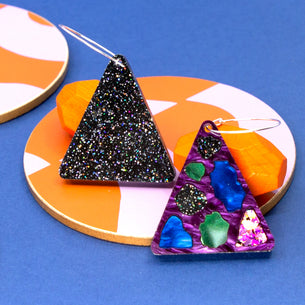 Lellie Reversible Terrazzo Triangle with Purple/Black Glitter