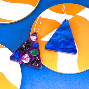 Lellie Reversible Terrazzo Triangle with Purple/Blue
