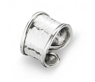Sterling Silver Hammered Wave Ring - Adjustable