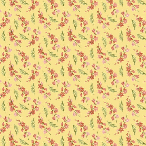 Blessings Floral Sprigs in Yellow by Jane Allison for Henry Glass - Fabric and Frills