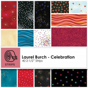 LB Celebration 2 1/2 inch Precut strip by Laurel Burch brought to you by Clothworks - Fabric and Frills